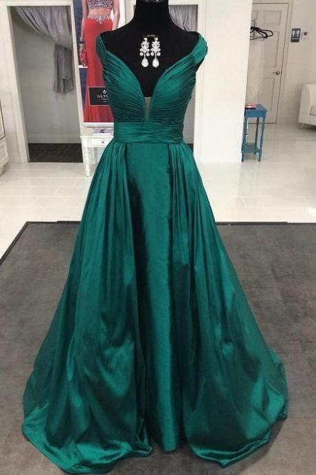 ed71bca2ed6 Hunter Green Satin Plunge V Floor Length A-Line Formal Dress