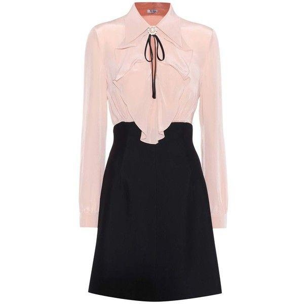 Miu Miu Silk and Crêpe Dress ($1,900) ❤ liked on Polyvore featuring dresses, vestidos, pink, crepe fabric dress, pink dress, miu miu, silk dress and crepe dress
