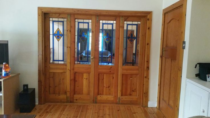 Intrenal dividing doors made from recycled Oregon pine timber.