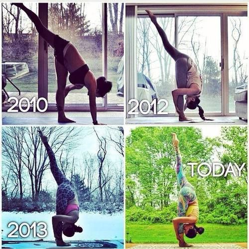 Patience and dedication. ynspirations: Yoga Progress by Laura Sykora www.instagram.com/laurasykora Yoga Inspiration on FB and IG