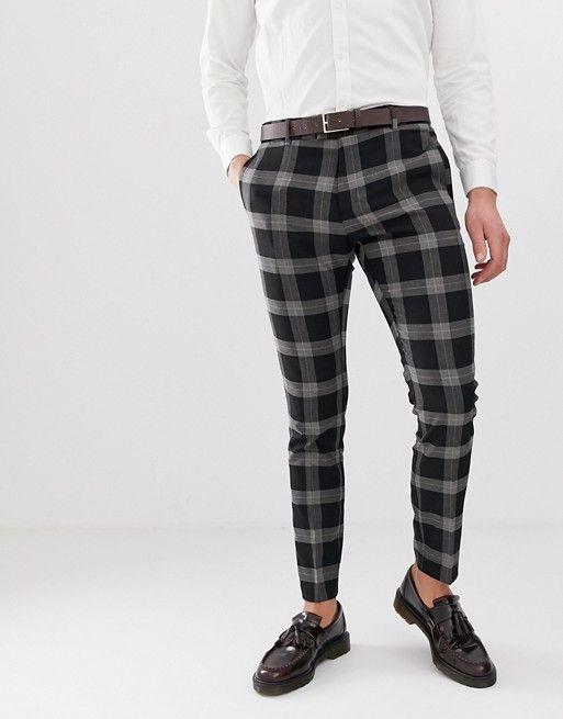 e4b65a96ff River Island skinny check pants in black in 2019 | Pants | Pants ...
