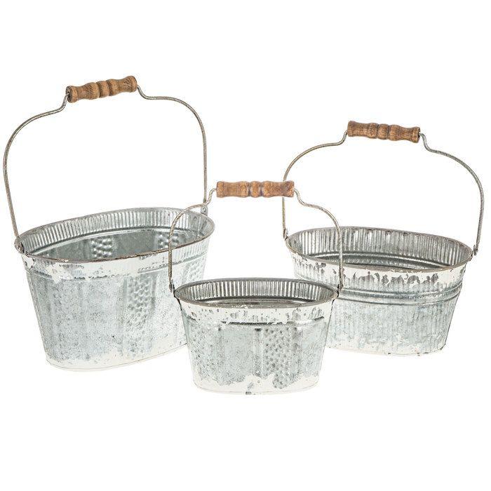 White Rustic Oval Galvanized Metal Bucket Set Hobby Lobby 1549823 In 2020 Galvanized Metal Metal Bucket Wire Basket Decor
