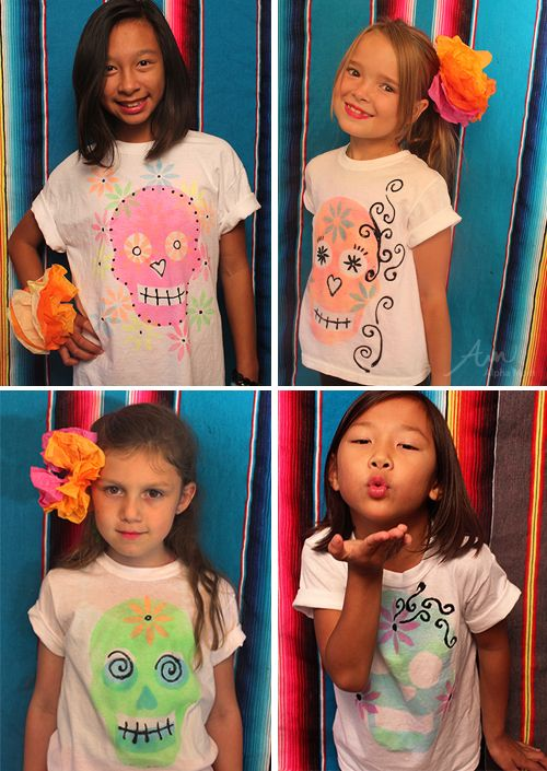 Day of the Dead DIY T-Shirt Tutorial #DiaDeLosMuertos: Diy Halloween Shirts For Kids, Day Of The Dead Craft For Kids, Diy Tutorial, Holidays W Kids, Diy T Shirts, Diy Halloween Shirts Kids, Halloween Shirt Diy Kids, Diy Shirts, Halloween Kids Shirts