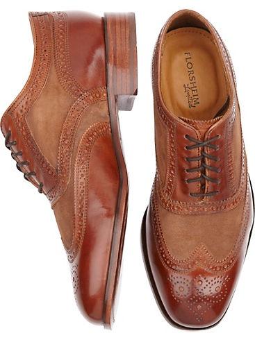 Cognac Wingtip Lace-Up Shoes (001) - Florsheim