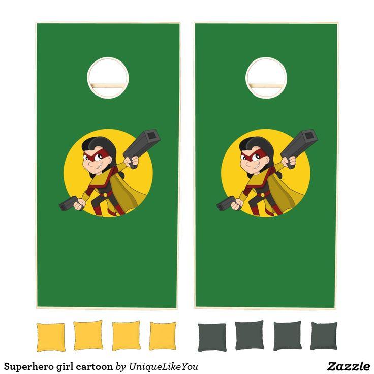 Superhero girl cartoon cornhole set