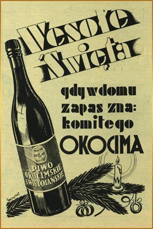 old retro polish advertisement, Beer Okocim