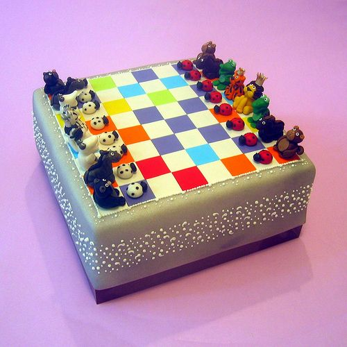Animal Chessboard Cake by dahliascakes, sculpted by hand pieces, is overboard for my talents