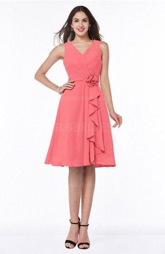 Coral Sexy V-neck Sleeveless Chiffon Knee Length Plus Size Bridesmaid Dresses