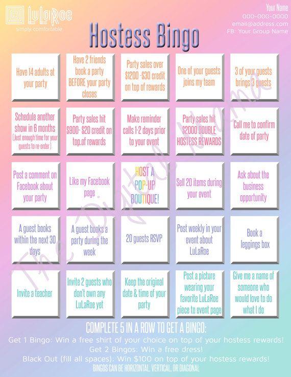 LuLaRoe Hostess Bingo Game LuLaRoe Boutique by TheDigitalMama