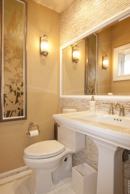 Long mirror across both the vanity and the toilet reno for Long bathroom designs