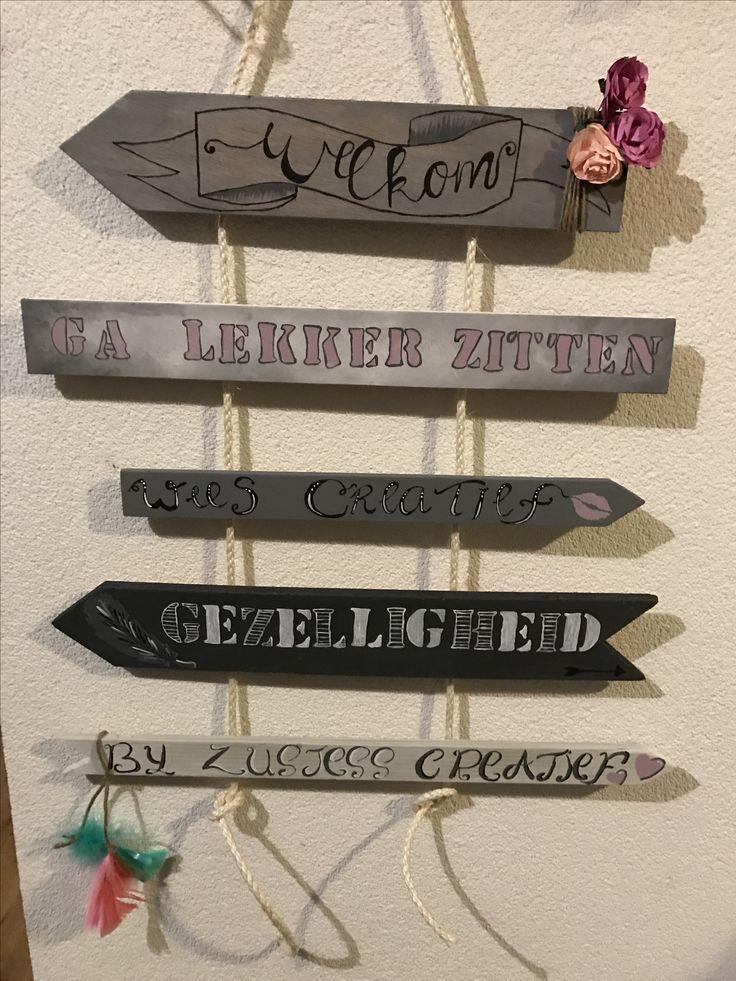 Hangende tuinwijzer.   www.zusjesscreatief.nl