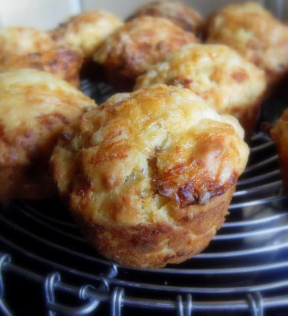 Ploughman's Muffins: I just love ordering a ploughman's lunch when we go to the pub. A tasty hunk of good cheese, along with some chutney or pickle and salad leaves . . . simple and yet extremely delicious. Here is a tasty muffin that combines all the wonderful flavours of a ploughman's lunch into one scrumptious little parcel.