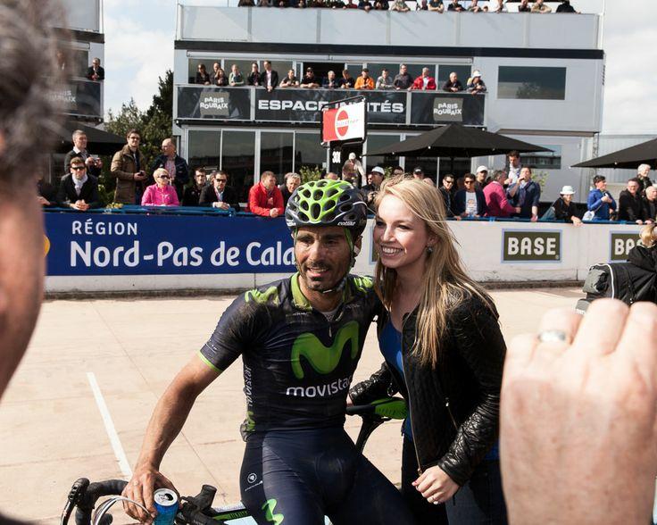Movistar Team rider Fran Ventoso at the Velodrome of Roubaix