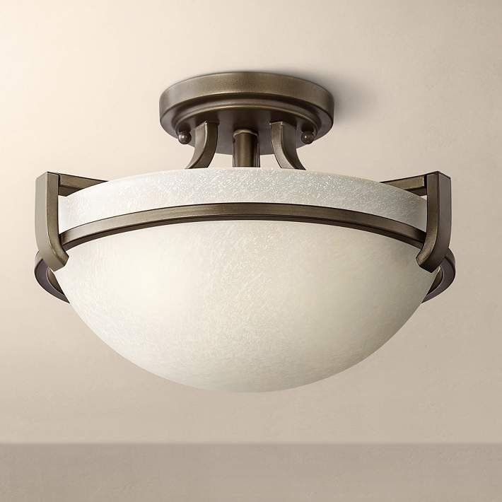 Mallot 13 Wide Bronze And Champagne Glass Ceiling Light 9h834 Lamps Plus Ceiling Lights Glass Ceiling Lights Glass Ceiling