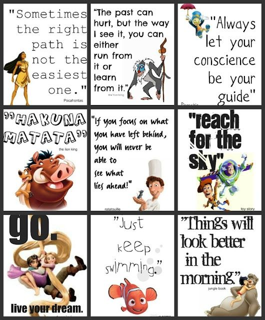 Disney quotes. Would love to frame this for my daughters room