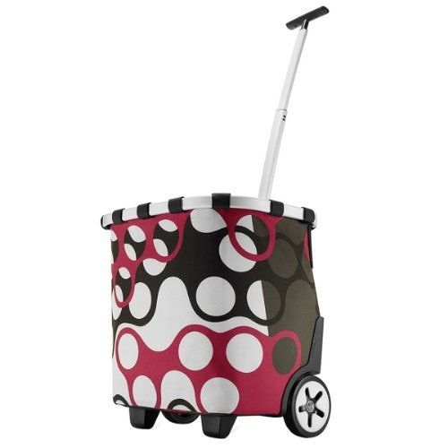 Reisenthel Carrycruiser, Shopping Basket, Shopper on Castors, Trolley, rings / red black white ring pattern, OE7025