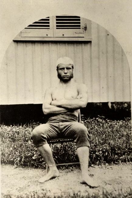 Young Teddy Roosevelt, straight from sculling practice at Harvard, IN SHORTS