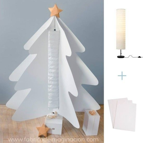 DIY Paper Christmas Tree with HOLMO lamp - IKEA Hackers http://www.ikeahackers.net/2014/12/diy-paper-christmas-tree-with-holmo-lamp.html