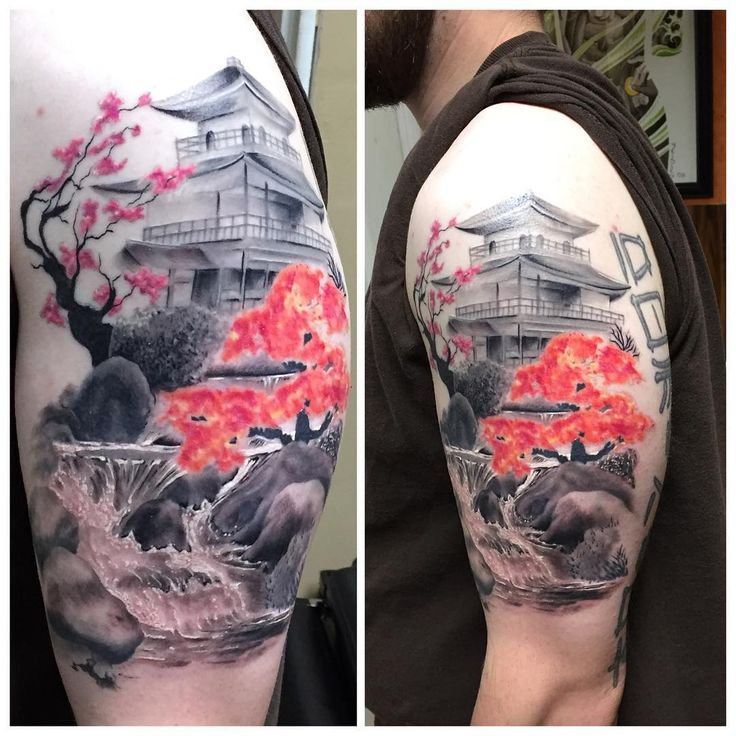 Allen Kopp Tattoo @allenkopptattoo. Black and Grey Japanese temple with color…