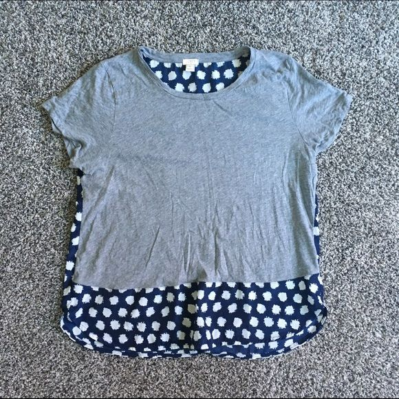 Jcrew women's top Gray and navy blue women's polka dot top Jcrew Tops Blouses