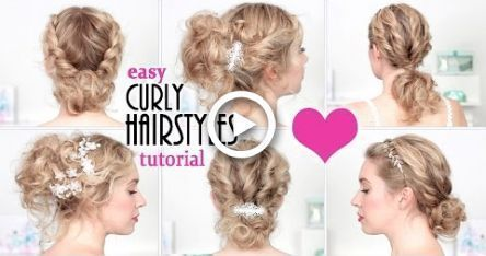 Easy hairstyles for BACK TO SCHOOL, everyday, party Quick curly updo for short/medium – #curly #Easy #Everyday #Hairstyles #Party -
