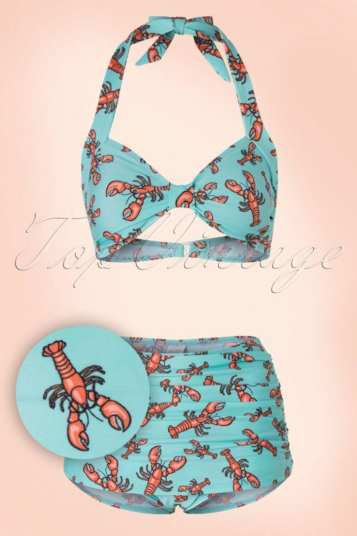 Weg met die saaie bikini's... Deze 50s Classic Lobster Bikinilaat jou stralen als nooit tevoren!Voel je op en top vrouw in deze super flatterende en mooie bikini. Dit prachtplaatje isgeschikt voor alle lichaamstypes dankzij de samenstelling van de stof en het slimme design!Uitgevoerd in een comfortabel, stretchy lichtblauw stofje met een speelse oranje kreeftenprint.Je zult er niet alleen fantastisch uit zien maar je kunt ook een frisse duik nemen zonder zorgen ;-) &n...