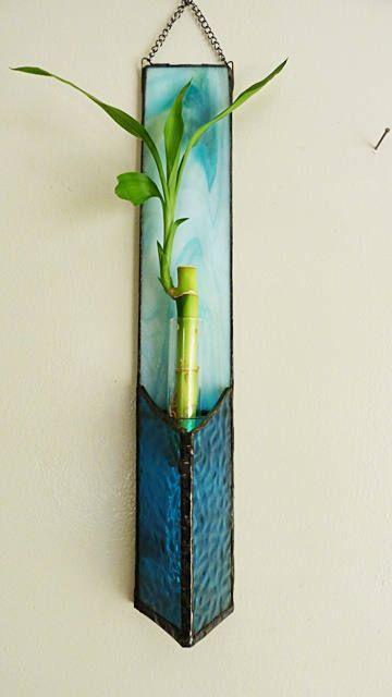 Lucky bambou panneau de vitrail Sarcelle dhiver mélangé