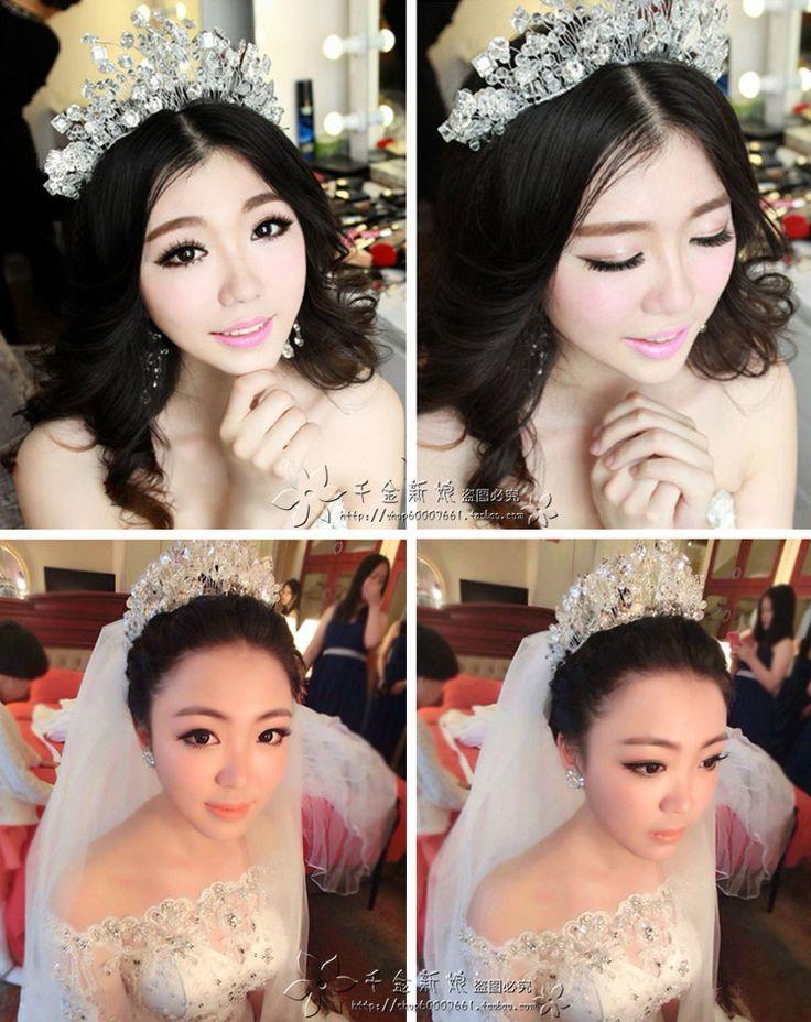 Пакет Корейский крона невесты украшения ручной работы для волос кристалл бисером голову цветок головной убор повязка на лбу свадебное платье, короткие волосы аксессуары - Taobao