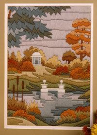 Free embroidery pattern: autumn scene landscape. It inspires me to do something similar with one of our nice photographs.