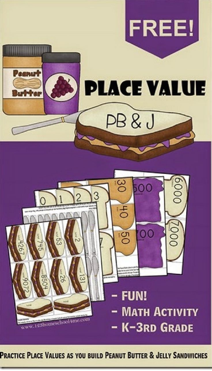 FREE! Place Value PB and J Sandwiches - This is such a fun, clever math activity for Kindergarten, 1st grade, 2nd grade, and 3rd grade kids. (homeschool, math games)
