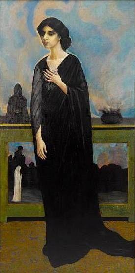 "Bolesław Biegas ""Hinduska"", ok. 1912, olej na płótnie, 200 x 100 cm"