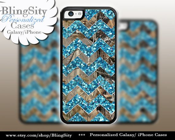 Monogram iPhone 5C 6 6 Plus Case Camo Aqua Teal Sparkle Chevron iPhone 5s 4 case Ipod 4 5 case Real Tree Personalized Country Inspired Girl by BlingSity