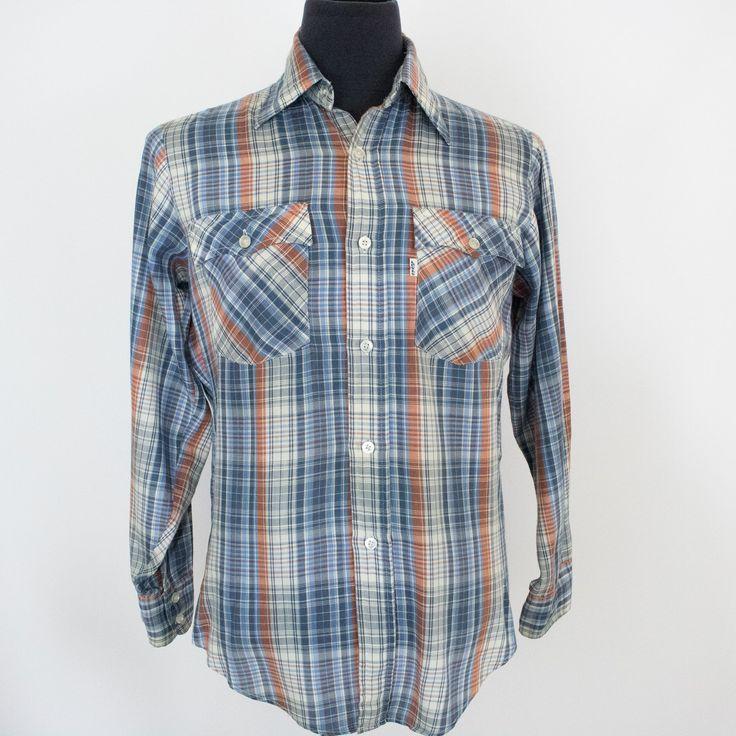 VTG 70's Cotton/Nylon Handmade Button Down-L-Very Rare WwcaXtF40v