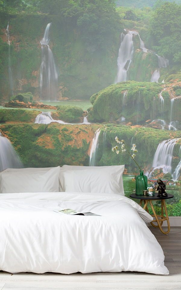 Asian Waterfall Wallpaper Mural Waterfall Wallpaper Landscape Wallpaper Nature Inspired Bedroom