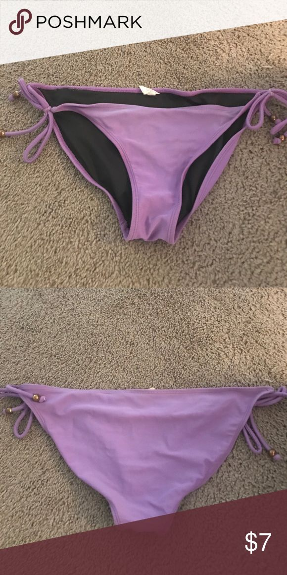 Purple bathing suit bottoms Purple bathing suit bottoms with gold beads size L Xhilaration Swim Bikinis