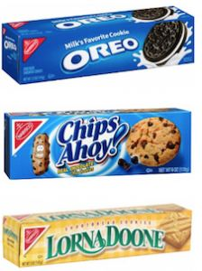 Right now CVS has 4.8 – 7 oz boxes of Nabisco Cookies on sale Buy One Get One Free! Plus, if you buy four you'll get them for $2 each (before the B1G1). Combine these offers with coupons to snag boxes for just $.63 each through 7/11! Here's how:  Buy 4 Nabisco Cookies 4.8 – 7 oz B1G1 for $2 ($4) Use 2 $.75/2 Nabisco Cookies from 6/28 SS Final Price: 4/$2.50 ($.63 each)