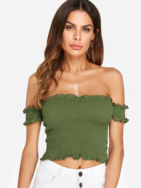 9fe3ba1c250a11 Green Backless Design Plain Off The Shoulder Short Sleeves Crop Top ...