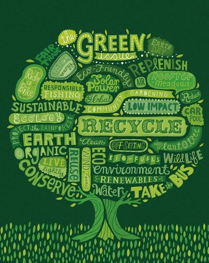 Where Magazine. © Linzie Hunter, Illustration & Hand Lettering.: Green Trees, Typography Posters, Reuse Recycled, Hands Letters, Words Art, Green Life, Art Posters, Earth Day, Earthday