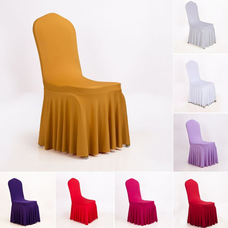 Universal Folding Chair Covers Dining Room Wedding Party Banquet Decor 8 Colors…