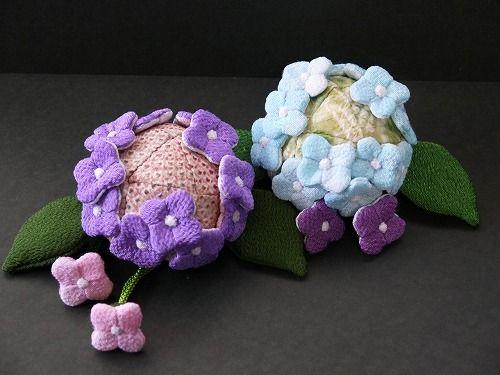 Pair hydrangea=chirimen kimono fabric