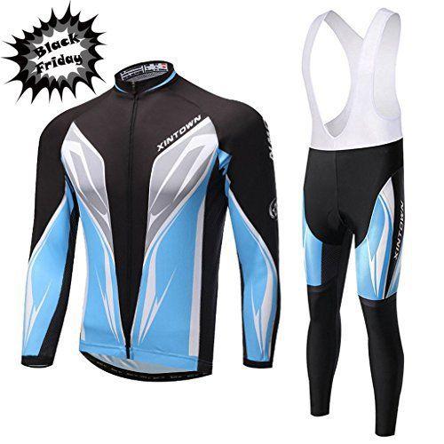 [Black Friday Deals] Skysper Maillot de Cyclisme Set Maillot de Manches Longues + Pantalons Homme Automne/Hiver Cyclisme Vêtements…