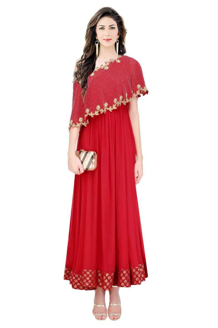 This Exclusive Gown Is An Ultimate Party Wear Collection With The Mesmerizing Colours Of Red With The Artistic Embroidery , Leave No Stone Unturned And Be At Your Fashionable Best. Crepe Semi Stitched...