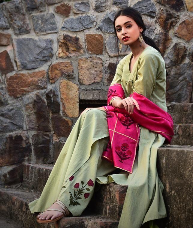 Buy Dreaming Of Sunshine Neh Block-printed cotton angrakhas, pants and Chanderi dupattas Online at Jaypore.com