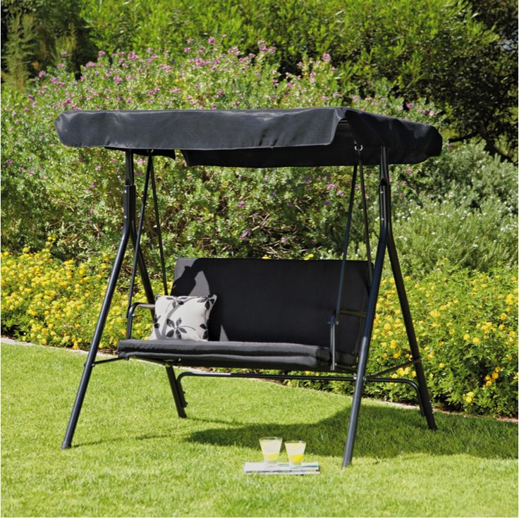 the two seater garden swing chair in black a is stylish and comfortable furniture piece to
