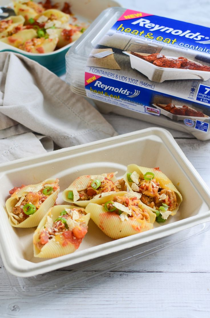 Switch up your stuffed shells recipe with these Taco Pasta Shells! These delicious shells are filled with taco meat and topped with all your favorite toppings! Plus, leftovers reheat perfectly in these ReynoldsTM Disposable Heat & Eat containers that are made from plant-based fibers, making it ideal for microwave use. [ad]