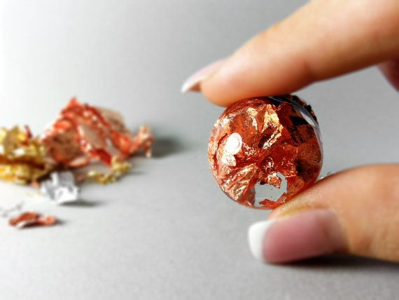 Metalic flakes resin sphere pendant necklace copper by ByEmilyRay