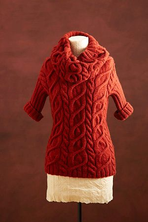 Image of Cabled Pullover And Cowl