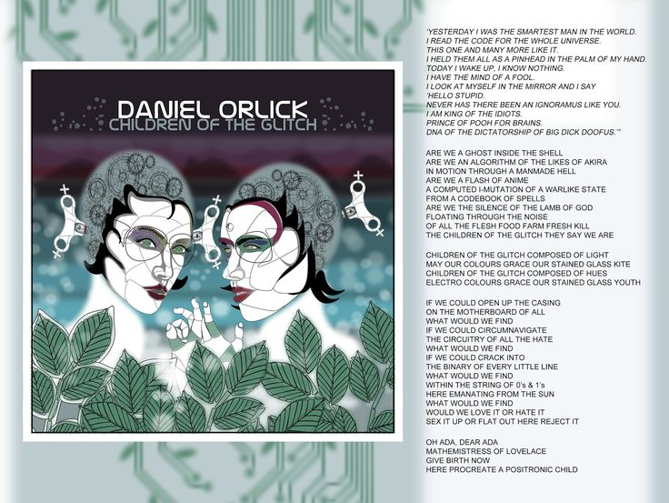 "Currently designing the digital pdf booklet that will come with my album Beautifully Haunted when you purchase it from the iTunes store. Each of the 21 tracks will have their corresponding art on an individual page as well as the lyrics if the particular song has vocals. The background pattern is the foliage themed circuit board from the cover art for ""The Dinosaurs Hiding in the DNA"" which will change colour on each page. #ghostintheshell #akira #anime #adalovelace #isaacaasimov"