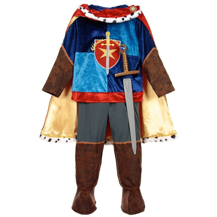 This boys Medieval Prince dress-up costume has a royal blue velvet tunic with a coats of arms style emblem, brown sleeves and velcro to fasten. The grey trousers have mock leather over boots with elasticated straps to hook under the shoes. It has a rich looking red velvet and gold satin cape with a synthetic fur trim and a gem decoration covering the velcro fastening. The outfit is completed with a plastic sword.