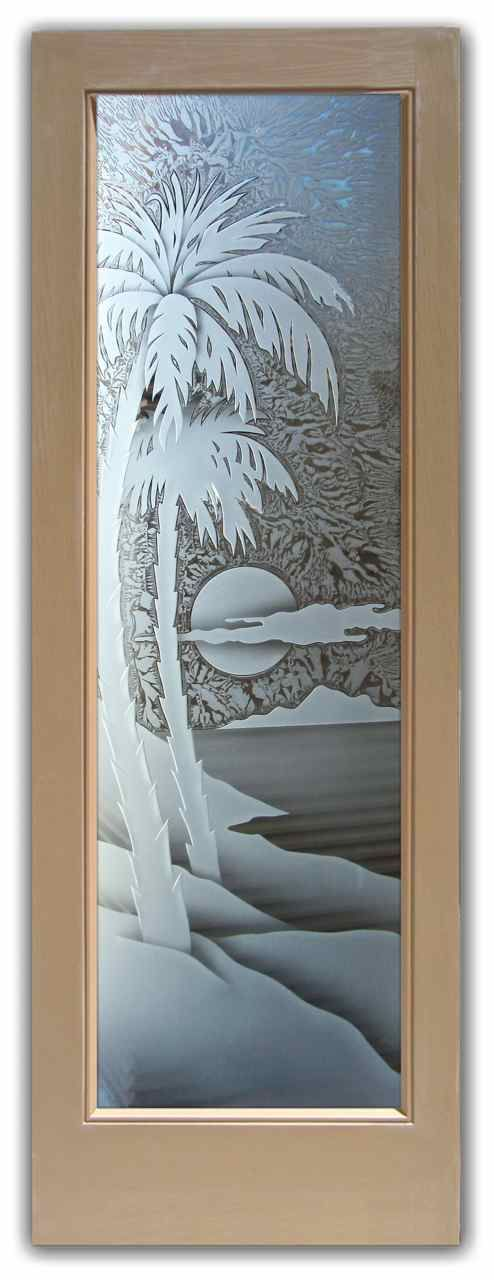 Interior Glass Door - Palm Sunset 3D - Interior glass doors or glass door inserts.  Brighten the look with a beautiful interior glass door featuring a custom frosted glass door design by Sans Soucie!  Choose from the highest quality and largest selection of frosted decorative glass interior doors and door glass.